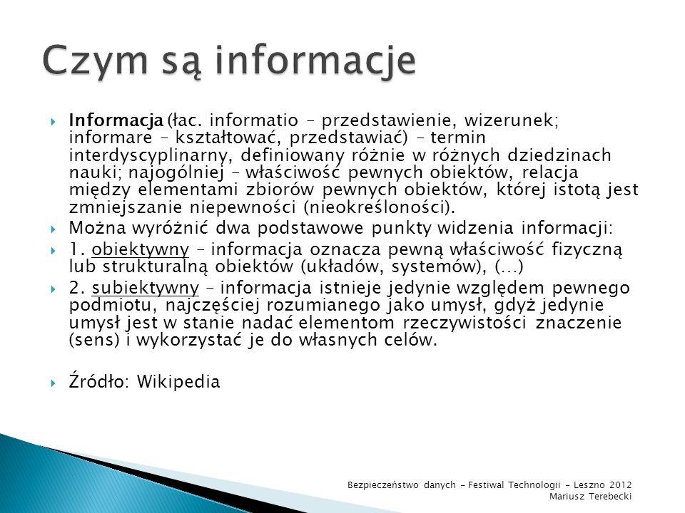 Dane komputerowe jest to reprezentacja informacji na nośniku danych.