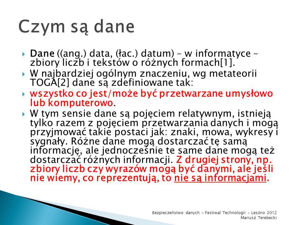 Dane ((ang.) data, (łac.) datum) – w informatyce – zbiory liczb i tekstów o różnych formach[1].