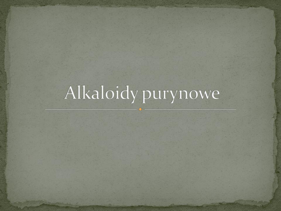 Są to pochodne puryny Zasady purynowe stanowią istotną rolę biologiczną Alkaloidy purynowe to pseudoalkaloidy – nie powstają bezpośrednio z aminokwasów i nie posiadają charakteru alkalicznego Przykłady związków Teobromina Teofilina Kofeina