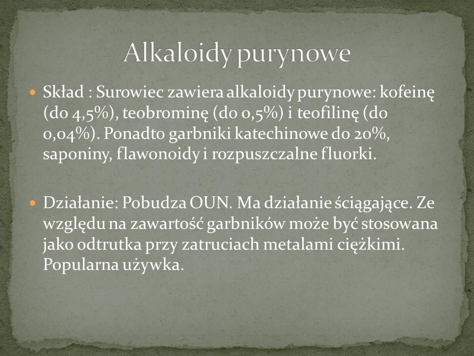 Skład : Surowiec zawiera alkaloidy purynowe: kofeinę (do 4,5%), teobrominę (do 0,5%) i teofilinę (do 0,04%).