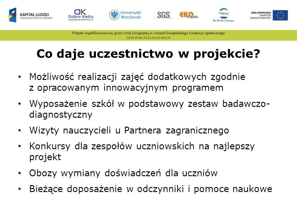 Co daje uczestnictwo w projekcie? Możliwość realizacji zajęć dodatkowych zgodnie z opracowanym innowacyjnym programem Wyposażenie szkół w podstawowy z