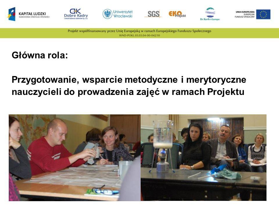 Główna rola: Przygotowanie, wsparcie metodyczne i merytoryczne nauczycieli do prowadzenia zajęć w ramach Projektu