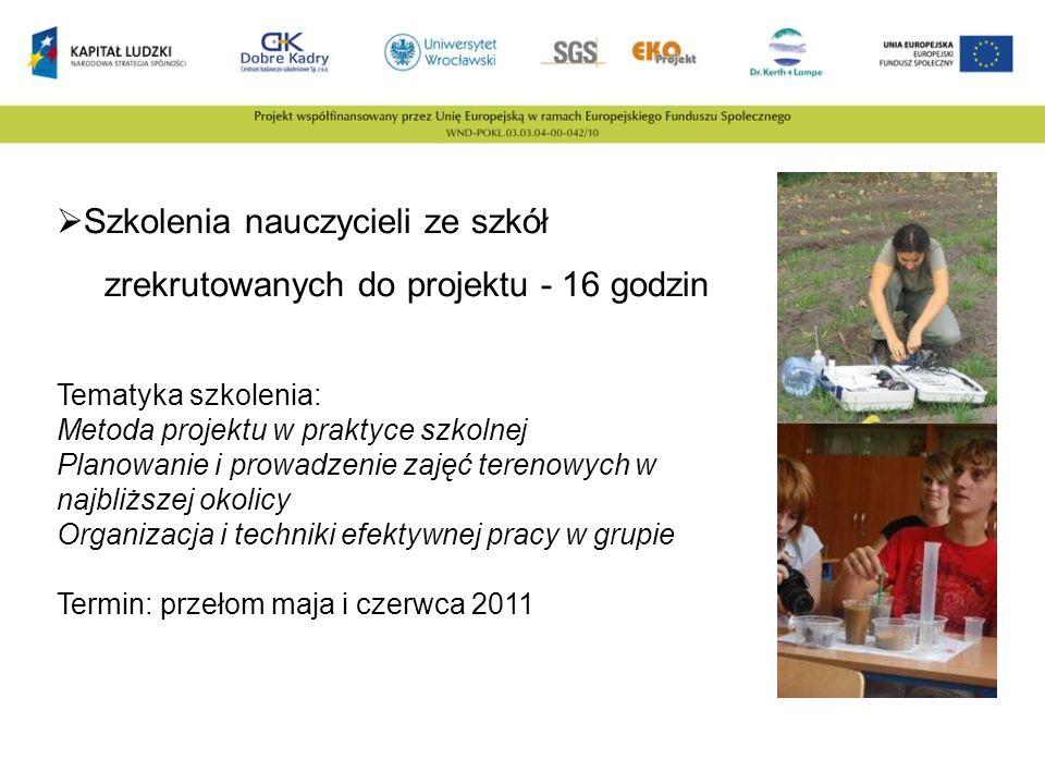 Szkolenia nauczycieli ze szkół zrekrutowanych do projektu - 16 godzin Tematyka szkolenia: Metoda projektu w praktyce szkolnej Planowanie i prowadzenie