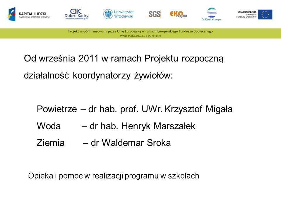 Od września 2011 w ramach Projektu rozpoczną działalność koordynatorzy żywiołów: Powietrze – dr hab. prof. UWr. Krzysztof Migała Woda – dr hab. Henryk
