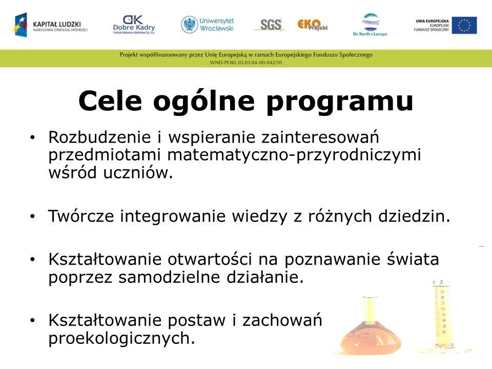 Cele ogólne programu Rozbudzenie i wspieranie zainteresowań przedmiotami matematyczno-przyrodniczymi wśród uczniów. Twórcze integrowanie wiedzy z różn