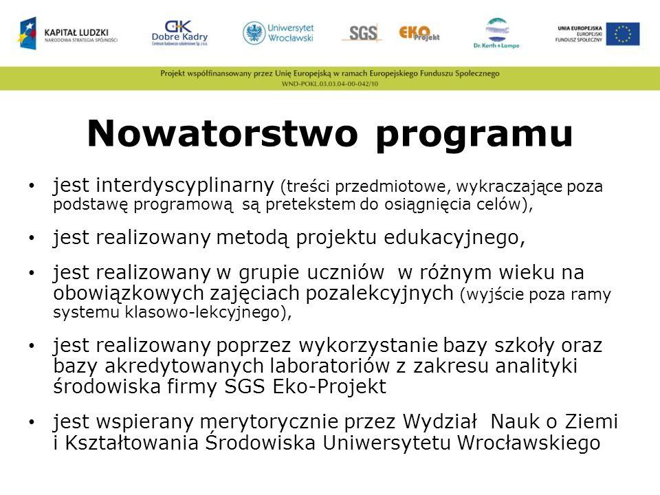 Nowatorstwo programu jest interdyscyplinarny (treści przedmiotowe, wykraczające poza podstawę programową są pretekstem do osiągnięcia celów), jest rea