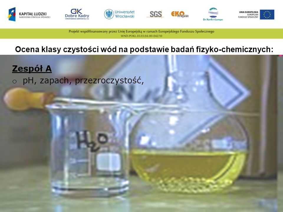 Ocena klasy czystości wód na podstawie badań fizyko-chemicznych: Zespół A o pH, zapach, przezroczystość,