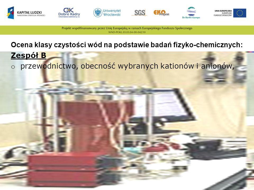 Ocena klasy czystości wód na podstawie badań fizyko-chemicznych: Zespół B o przewodnictwo, obecność wybranych kationów i anionów,