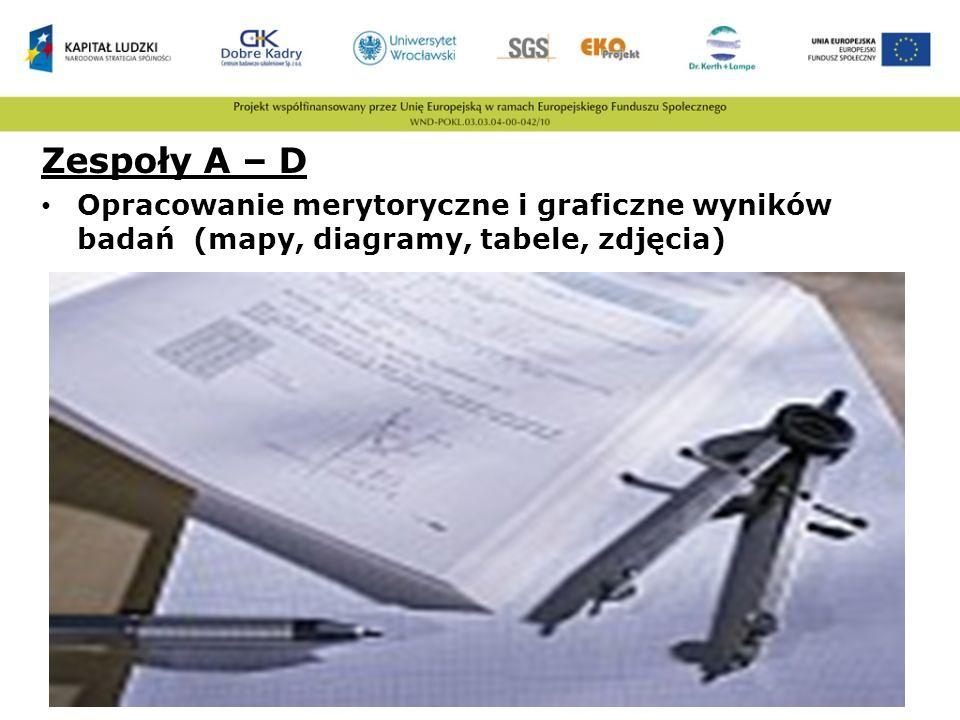 Zespoły A – D Opracowanie merytoryczne i graficzne wyników badań (mapy, diagramy, tabele, zdjęcia)