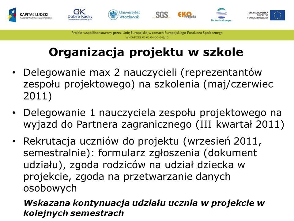 Organizacja projektu w szkole Delegowanie max 2 nauczycieli (reprezentantów zespołu projektowego) na szkolenia (maj/czerwiec 2011) Delegowanie 1 naucz