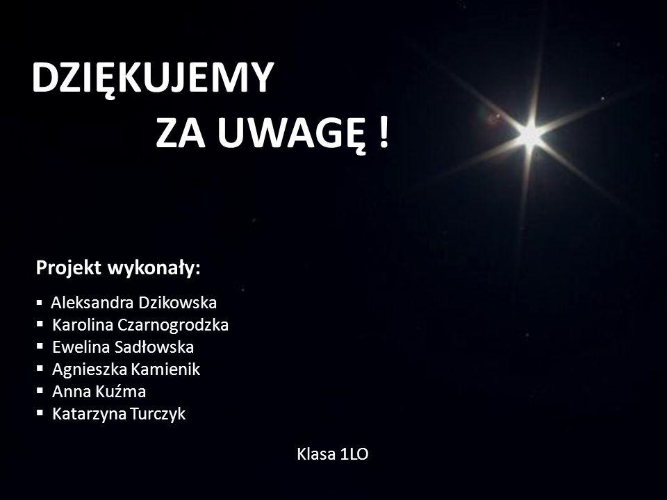 DZIĘKUJEMY ZA UWAGĘ ! Projekt wykonały: Aleksandra Dzikowska Karolina Czarnogrodzka Ewelina Sadłowska Agnieszka Kamienik Anna Kuźma Katarzyna Turczyk