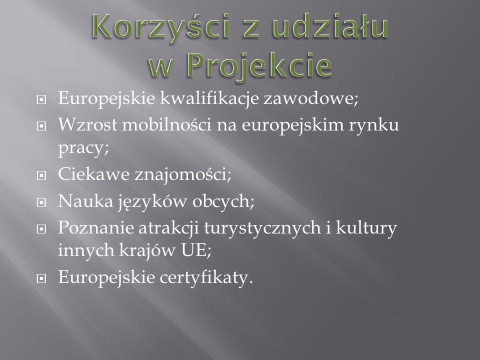 Europejskie kwalifikacje zawodowe; Wzrost mobilności na europejskim rynku pracy; Ciekawe znajomości; Nauka języków obcych; Poznanie atrakcji turystycznych i kultury innych krajów UE; Europejskie certyfikaty.