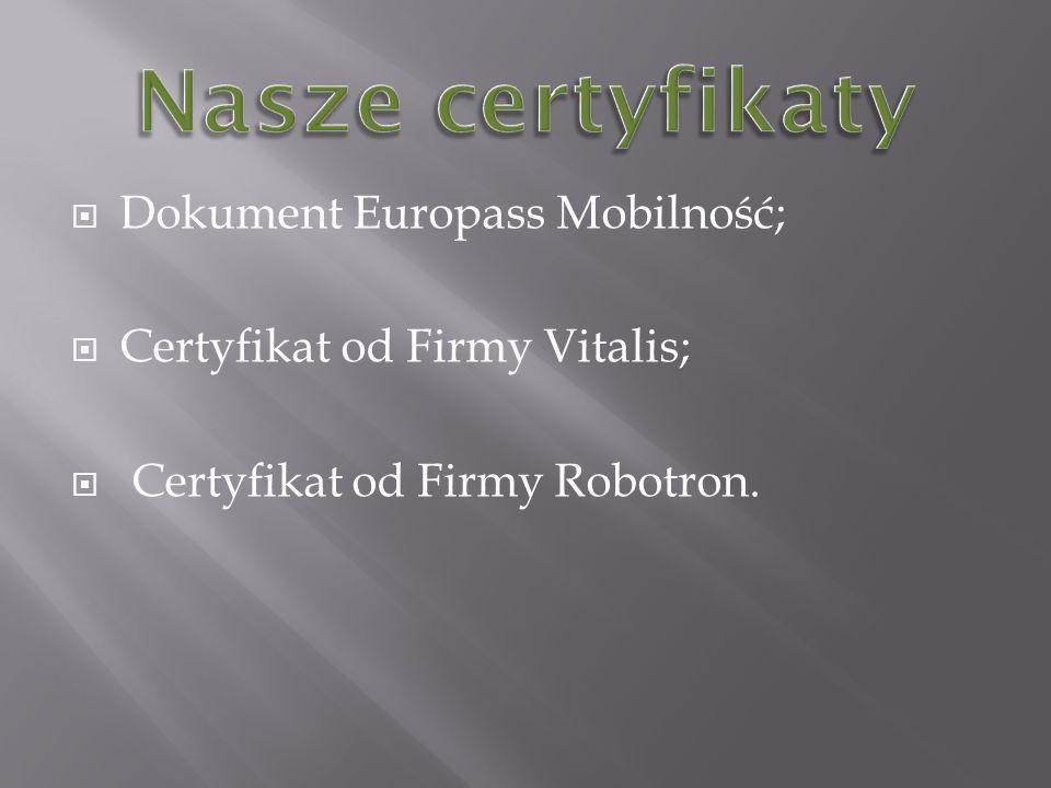 Dokument Europass Mobilność; Certyfikat od Firmy Vitalis; Certyfikat od Firmy Robotron.