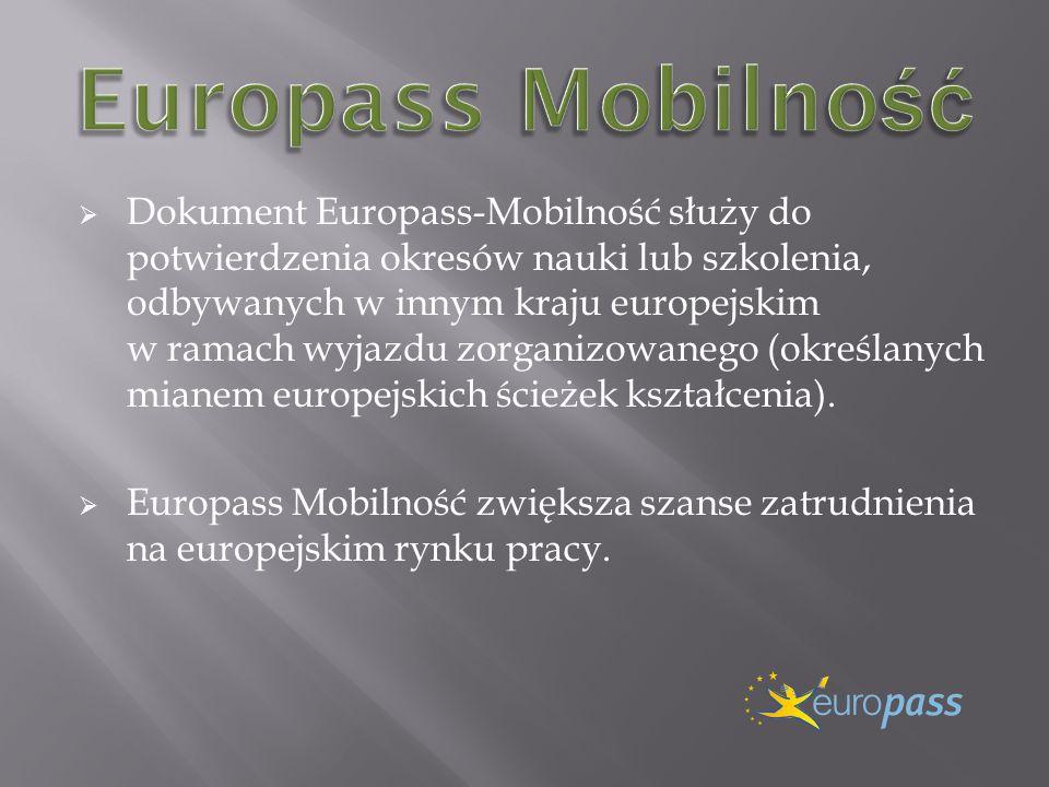 Dokument Europass-Mobilność służy do potwierdzenia okresów nauki lub szkolenia, odbywanych w innym kraju europejskim w ramach wyjazdu zorganizowanego (określanych mianem europejskich ścieżek kształcenia).