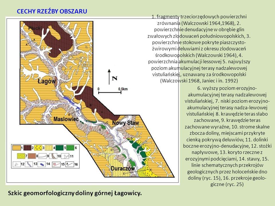 6. wyższy poziom erozyjno- akumulacyjnej terasy nadzalewowej vistuliańskiej, 7. niski poziom erozyjno- akumulacyjnej terasy nadza-lewowej vistuliański