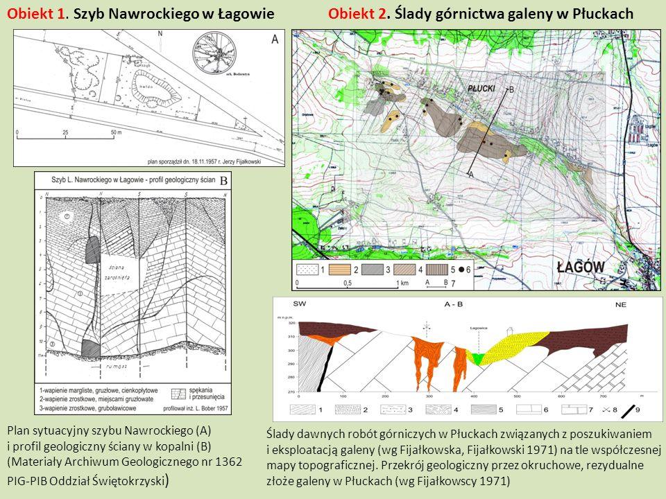 Plan sytuacyjny szybu Nawrockiego (A) i profil geologiczny ściany w kopalni (B) (Materiały Archiwum Geologicznego nr 1362 PIG-PIB Oddział Świętokrzysk