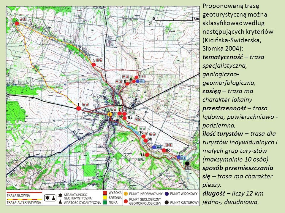 Proponowaną trasę geoturystyczną można sklasyfikować według następujących kryteriów (Kicińska-Świderska, Słomka 2004): tematyczność – trasa specjalist