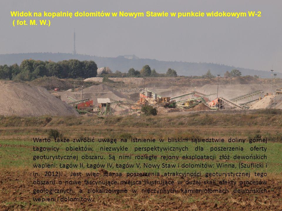 Widok na kopalnię dolomitów w Nowym Stawie w punkcie widokowym W-2 ( fot. M. W.) Warto także zwrócić uwagę na istnienie w bliskim sąsiedztwie doliny g