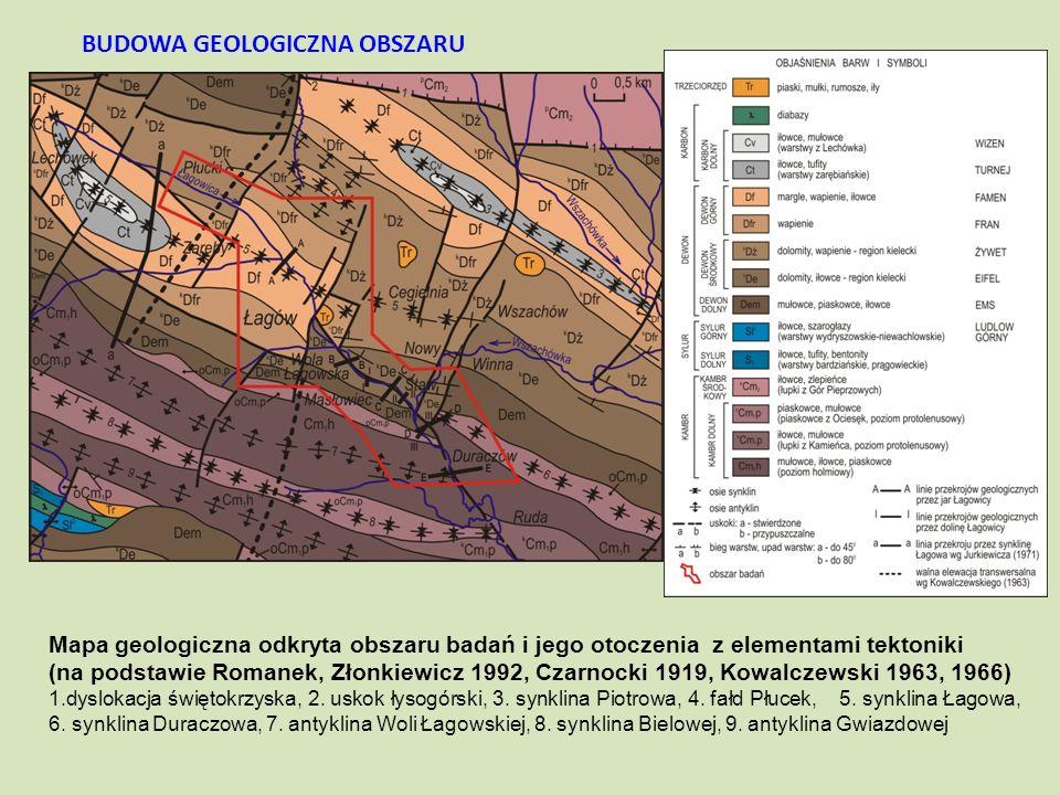 Mapa geologiczna odkryta obszaru badań i jego otoczenia z elementami tektoniki (na podstawie Romanek, Złonkiewicz 1992, Czarnocki 1919, Kowalczewski 1