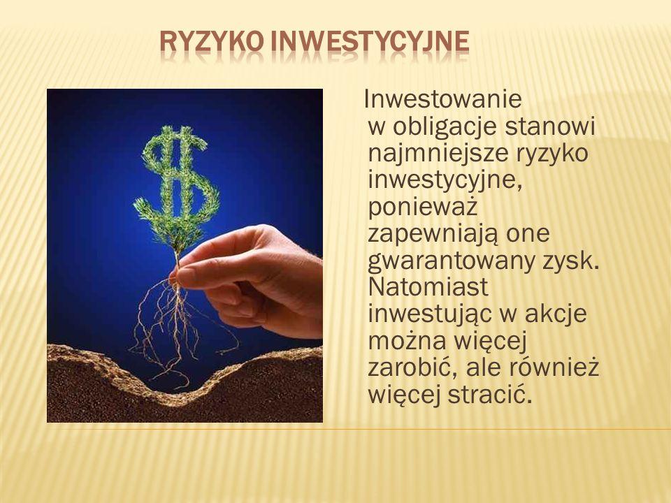 Inwestowanie w obligacje stanowi najmniejsze ryzyko inwestycyjne, ponieważ zapewniają one gwarantowany zysk. Natomiast inwestując w akcje można więcej