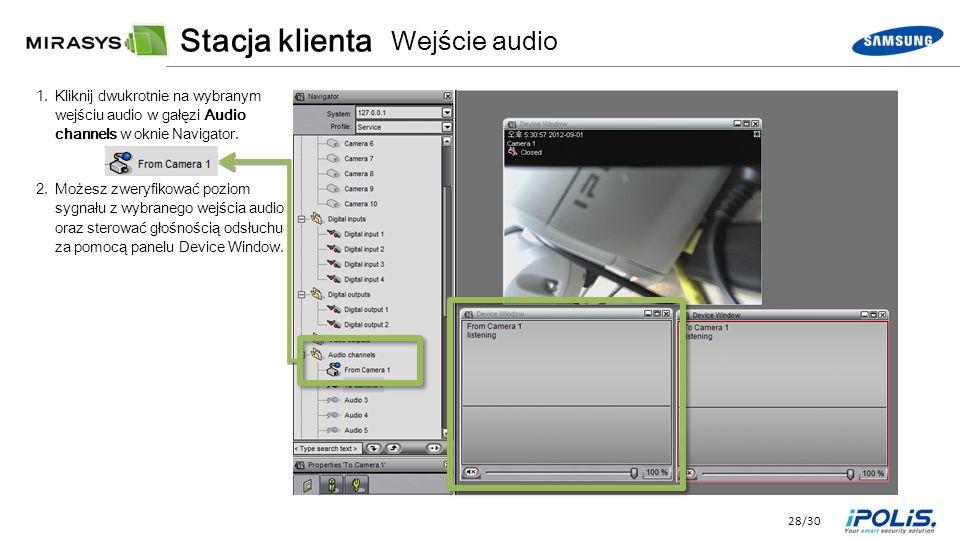 28/30 1.Kliknij dwukrotnie na wybranym wejściu audio w gałęzi Audio channels w oknie Navigator.