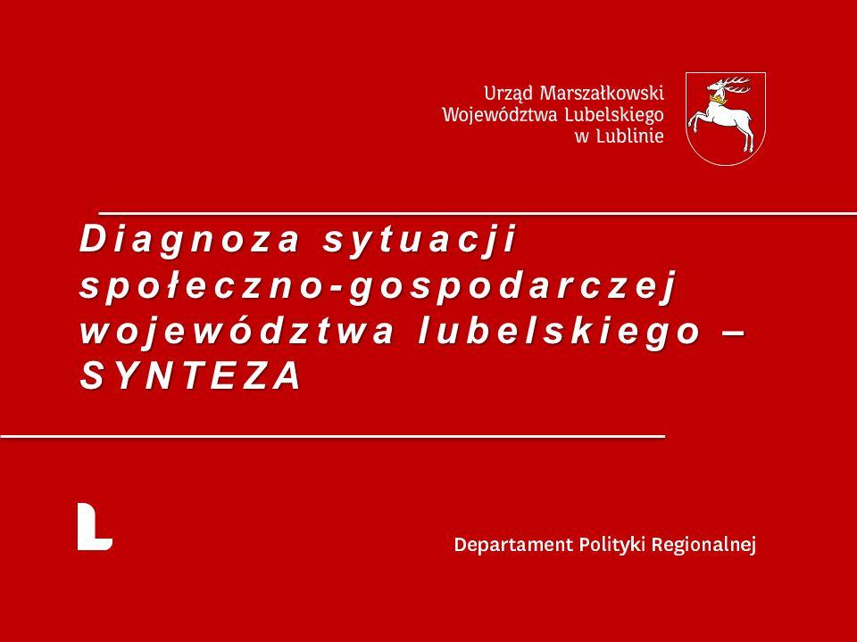 Zróżnicowanie wewnątrzregionalne 12 Województwo lubelskie jest jednym z najmniej zurbanizowanych województw w kraju (odsetek ludności miejskiej wynosi niespełna 46,5%); Województwo lubelskie cechuje się stosunkowo dużym zróżnicowaniem wewnątrzregionalnym.