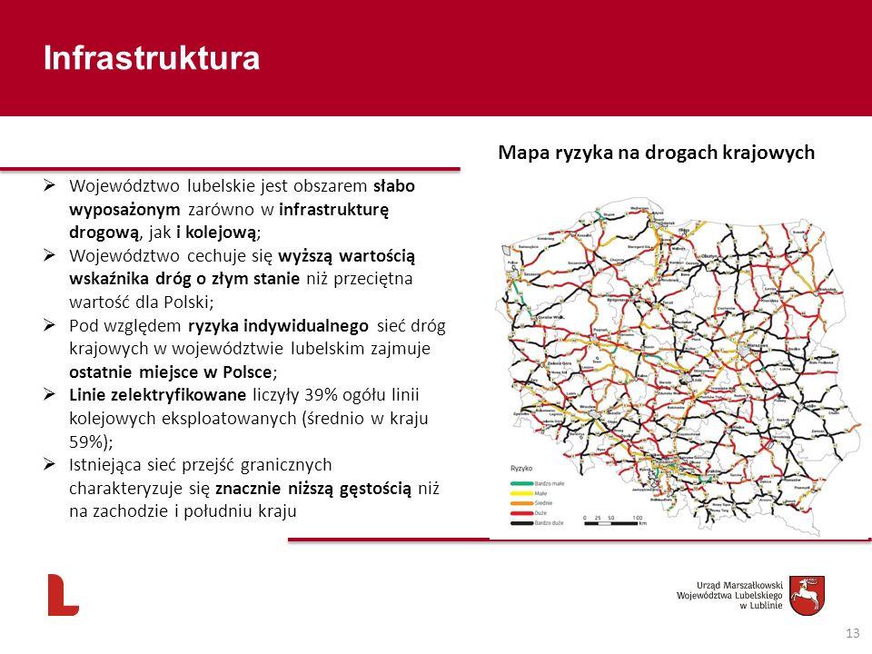 Infrastruktura 13 Mapa ryzyka na drogach krajowych Województwo lubelskie jest obszarem słabo wyposażonym zarówno w infrastrukturę drogową, jak i kolej