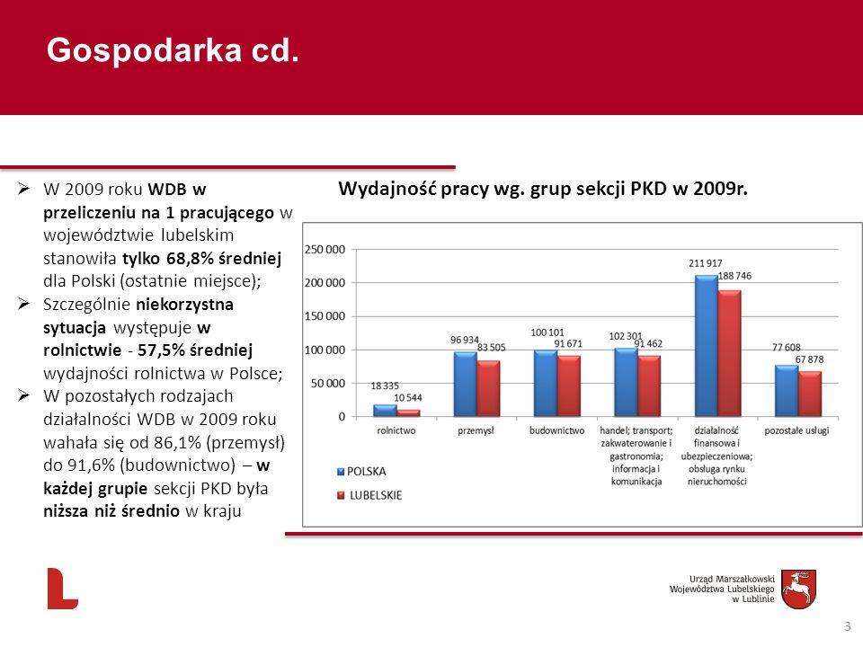 Gospodarka cd. 3 Wydajność pracy wg. grup sekcji PKD w 2009r. W 2009 roku WDB w przeliczeniu na 1 pracującego w województwie lubelskim stanowiła tylko