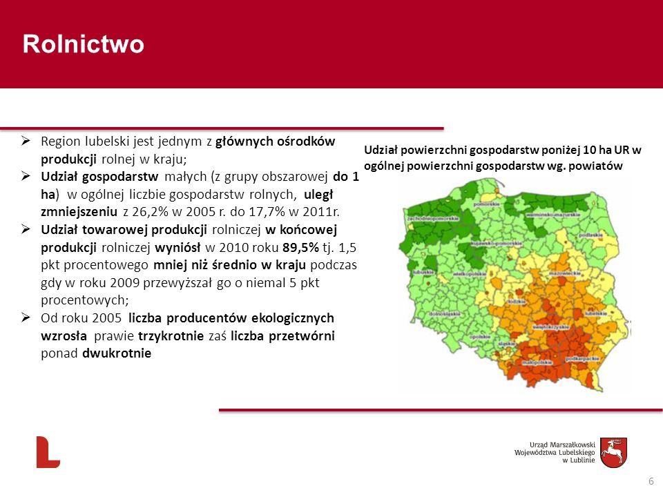 Rolnictwo 6 Region lubelski jest jednym z głównych ośrodków produkcji rolnej w kraju; Udział gospodarstw małych (z grupy obszarowej do 1 ha) w ogólnej