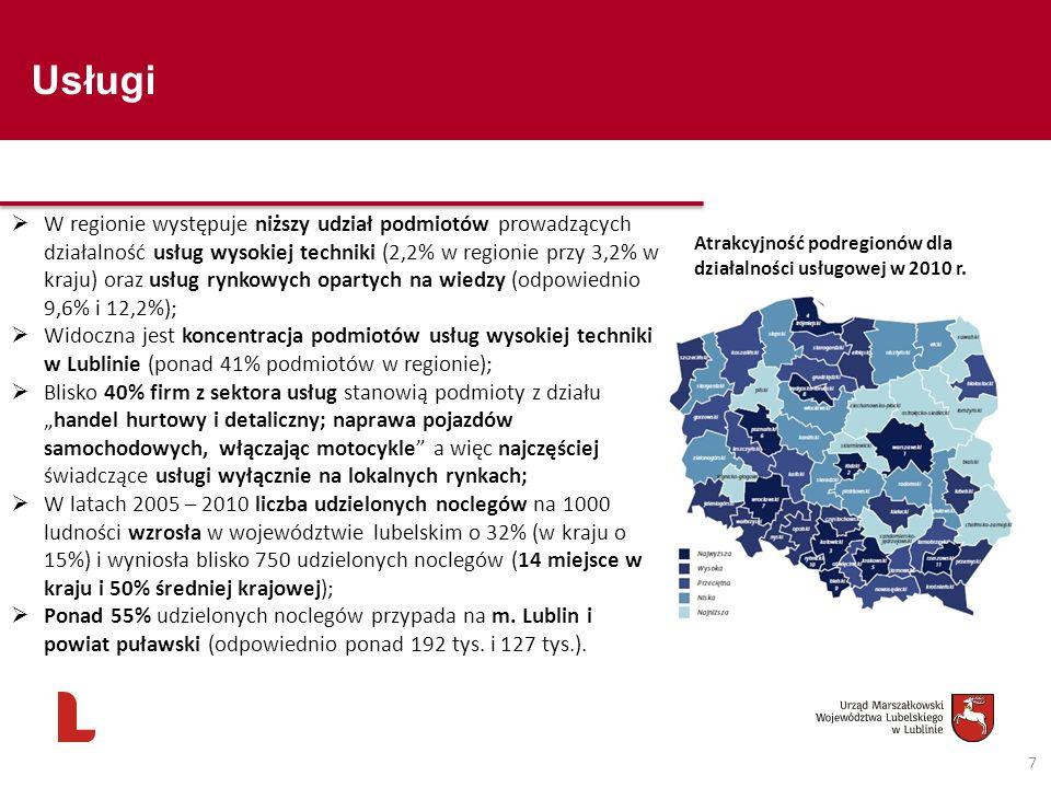 Usługi 7 Atrakcyjność podregionów dla działalności usługowej w 2010 r. W regionie występuje niższy udział podmiotów prowadzących działalność usług wys