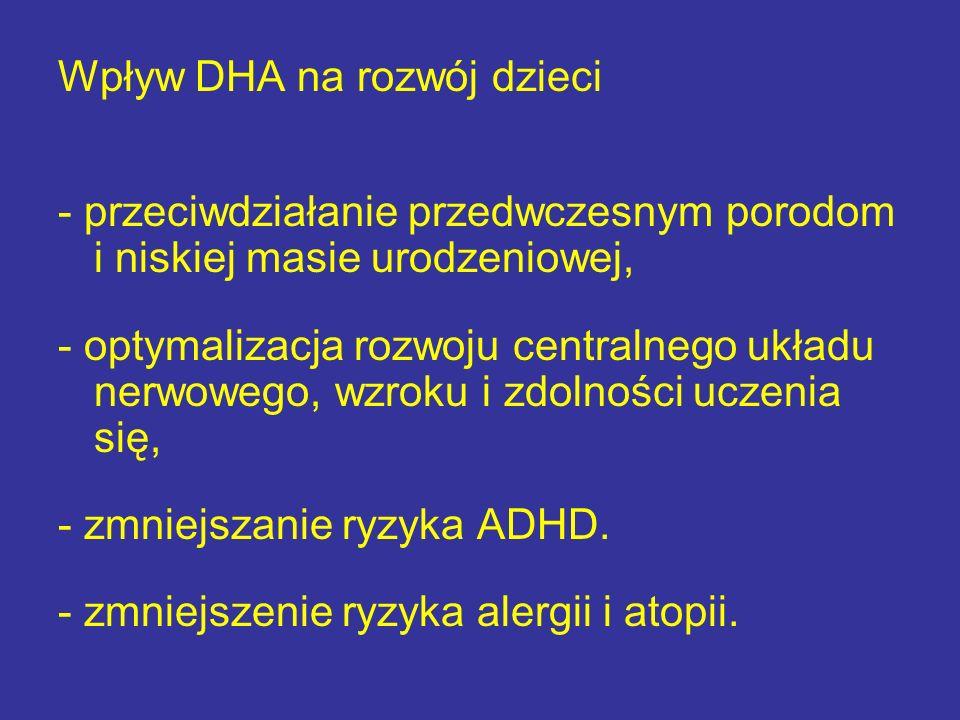 Wpływ DHA na rozwój dzieci - przeciwdziałanie przedwczesnym porodom i niskiej masie urodzeniowej, - optymalizacja rozwoju centralnego układu nerwowego