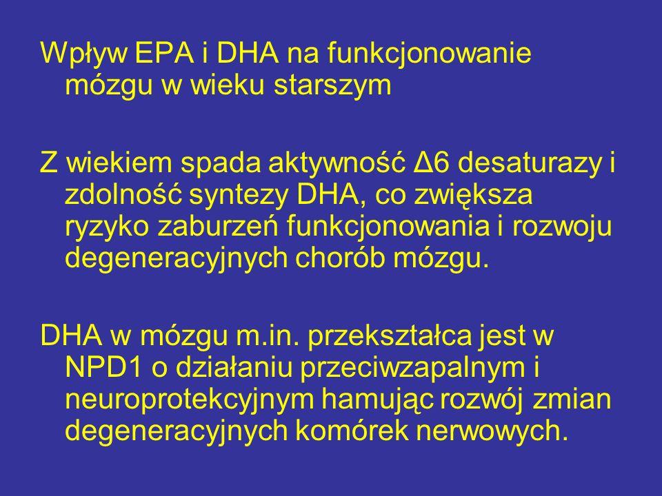 Wpływ EPA i DHA na funkcjonowanie mózgu w wieku starszym Z wiekiem spada aktywność Δ6 desaturazy i zdolność syntezy DHA, co zwiększa ryzyko zaburzeń f
