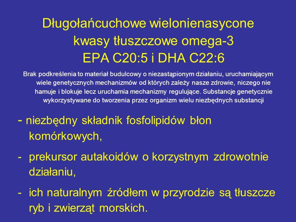 Długołańcuchowe wielonienasycone kwasy tłuszczowe omega-3 EPA C20:5 i DHA C22:6 Brak podkreślenia to materiał budulcowy o niezastąpionym działaniu, ur
