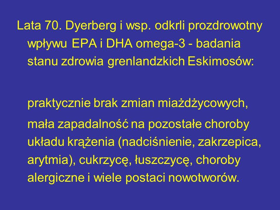 Lata 70. Dyerberg i wsp. odkrli prozdrowotny wpływu EPA i DHA omega-3 - badania stanu zdrowia grenlandzkich Eskimosów: praktycznie brak zmian miażdżyc