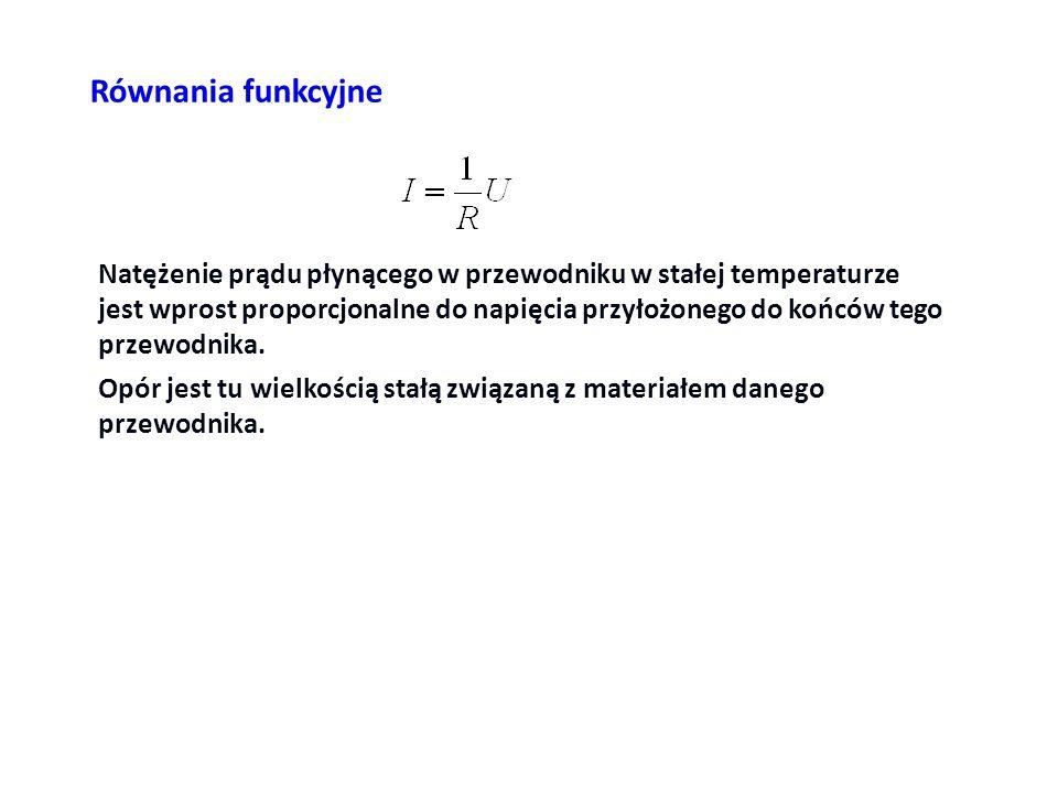 Równania funkcyjne Natężenie prądu płynącego w przewodniku w stałej temperaturze jest wprost proporcjonalne do napięcia przyłożonego do końców tego pr