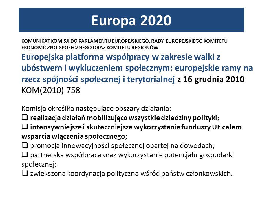 KOMUNIKAT KOMISJI DO PARLAMENTU EUROPEJSKIEGO, RADY, EUROPEJSKIEGO KOMITETU EKONOMICZNO-SPOŁECZNEGO ORAZ KOMITETU REGIONÓW Europejska platforma współpracy w zakresie walki z ubóstwem i wykluczeniem społecznym: europejskie ramy na rzecz spójności społecznej i terytorialnej z 16 grudnia 2010 KOM(2010) 758 Komisja określiła następujące obszary działania: realizacja działań mobilizująca wszystkie dziedziny polityki; intensywniejsze i skuteczniejsze wykorzystanie funduszy UE celem wsparcia włączenia społecznego; promocja innowacyjności społecznej opartej na dowodach; partnerska współpraca oraz wykorzystanie potencjału gospodarki społecznej; zwiększona koordynacja polityczna wśród państw członkowskich.