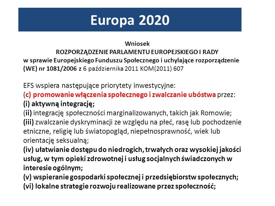 Wniosek ROZPORZĄDZENIE PARLAMENTU EUROPEJSKIEGO I RADY w sprawie Europejskiego Funduszu Społecznego i uchylające rozporządzenie (WE) nr 1081/2006 z 6 października 2011 KOM(2011) 607 EFS wspiera następujące priorytety inwestycyjne: (c) promowanie włączenia społecznego i zwalczanie ubóstwa przez: (i) aktywną integrację; (ii) integrację społeczności marginalizowanych, takich jak Romowie; (iii) zwalczanie dyskryminacji ze względu na płeć, rasę lub pochodzenie etniczne, religię lub światopogląd, niepełnosprawność, wiek lub orientację seksualną; (iv) ułatwianie dostępu do niedrogich, trwałych oraz wysokiej jakości usług, w tym opieki zdrowotnej i usług socjalnych świadczonych w interesie ogólnym; (v) wspieranie gospodarki społecznej i przedsiębiorstw społecznych; (vi) lokalne strategie rozwoju realizowane przez społeczność;