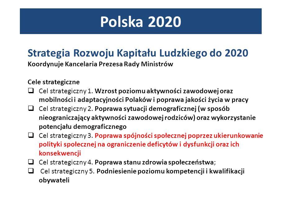 Strategia Rozwoju Kapitału Ludzkiego do 2020 Koordynuje Kancelaria Prezesa Rady Ministrów Cele strategiczne Cel strategiczny 1.