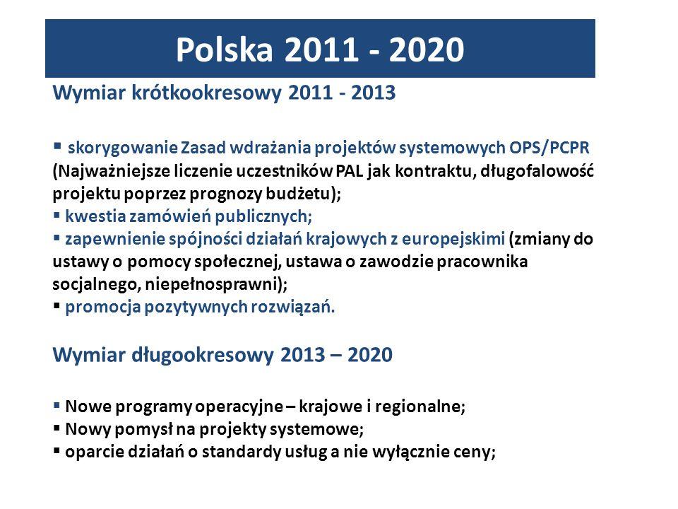 Wymiar krótkookresowy 2011 - 2013 skorygowanie Zasad wdrażania projektów systemowych OPS/PCPR (Najważniejsze liczenie uczestników PAL jak kontraktu, długofalowość projektu poprzez prognozy budżetu); kwestia zamówień publicznych; zapewnienie spójności działań krajowych z europejskimi (zmiany do ustawy o pomocy społecznej, ustawa o zawodzie pracownika socjalnego, niepełnosprawni); promocja pozytywnych rozwiązań.