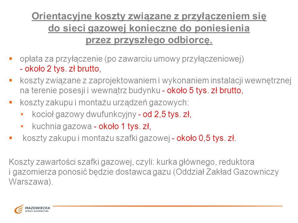 Orientacyjne koszty związane z przyłączeniem się do sieci gazowej konieczne do poniesienia przez przyszłego odbiorcę. opłata za przyłączenie (po zawar