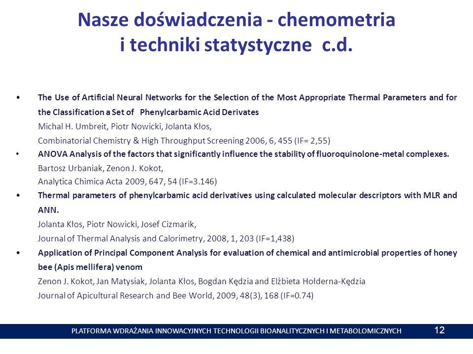 PLATFORMA WDRAŻANIA INNOWACYJNYCH TECHNOLOGII BIOANALITYCZNYCH I METABOLOMICZNYCH 12 Nasze doświadczenia - chemometria i techniki statystyczne c.d.