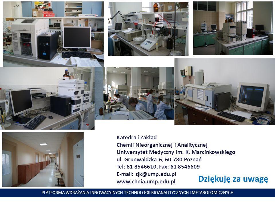 PLATFORMA WDRAŻANIA INNOWACYJNYCH TECHNOLOGII BIOANALITYCZNYCH I METABOLOMICZNYCH Dziękuję za uwagę Katedra i Zakład Chemii Nieorganicznej i Analitycz