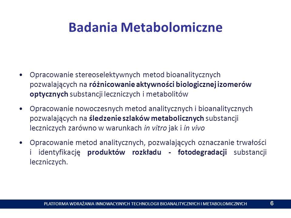 PLATFORMA WDRAŻANIA INNOWACYJNYCH TECHNOLOGII BIOANALITYCZNYCH I METABOLOMICZNYCH Badania Metabolomiczne Opracowanie stereoselektywnych metod bioanalitycznych pozwalających na różnicowanie aktywności biologicznej izomerów optycznych substancji leczniczych i metabolitów Opracowanie nowoczesnych metod analitycznych i bioanalitycznych pozwalających na śledzenie szlaków metabolicznych substancji leczniczych zarówno w warunkach in vitro jak i in vivo Opracowanie metod analitycznych, pozwalających oznaczanie trwałości i identyfikację produktów rozkładu - fotodegradacji substancji leczniczych.