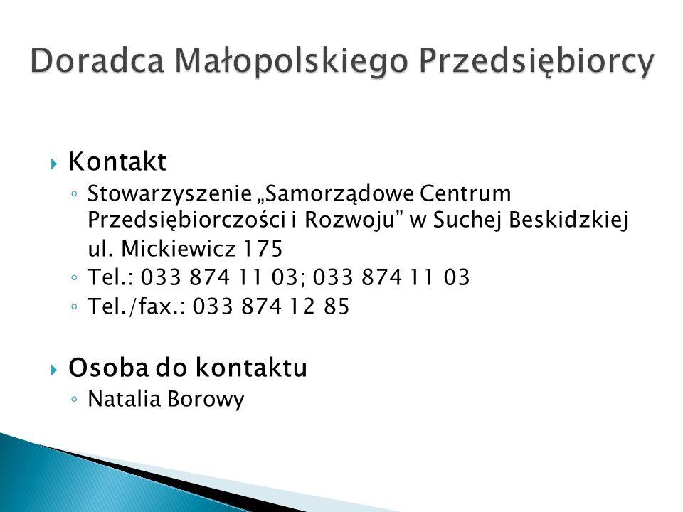 Kontakt Stowarzyszenie Samorządowe Centrum Przedsiębiorczości i Rozwoju w Suchej Beskidzkiej ul.