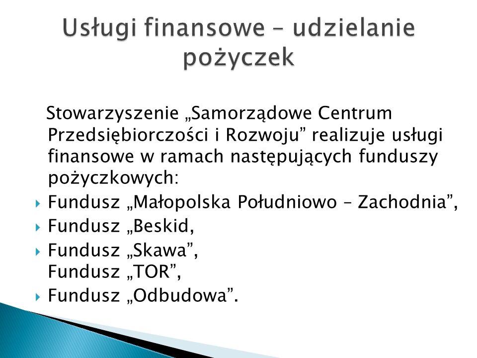 Stowarzyszenie Samorządowe Centrum Przedsiębiorczości i Rozwoju realizuje usługi finansowe w ramach następujących funduszy pożyczkowych: Fundusz Małopolska Południowo – Zachodnia, Fundusz Beskid, Fundusz Skawa, Fundusz TOR, Fundusz Odbudowa.