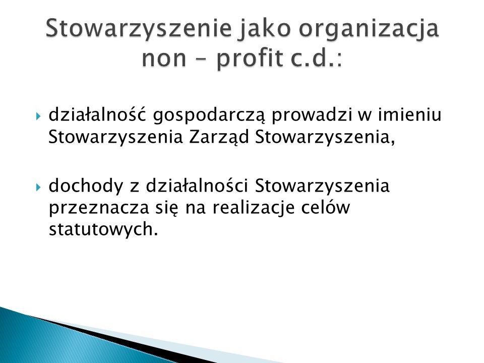 działalność gospodarczą prowadzi w imieniu Stowarzyszenia Zarząd Stowarzyszenia, dochody z działalności Stowarzyszenia przeznacza się na realizacje celów statutowych.