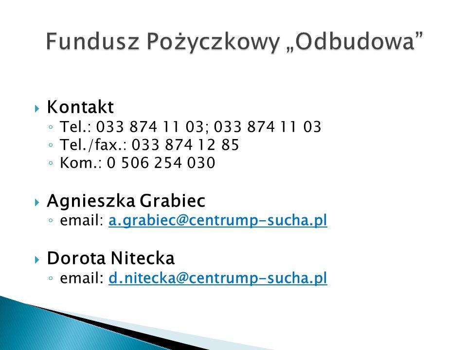 Kontakt Tel.: 033 874 11 03; 033 874 11 03 Tel./fax.: 033 874 12 85 Kom.: 0 506 254 030 Agnieszka Grabiec email: a.grabiec@centrump-sucha.pl Dorota Nitecka email: d.nitecka@centrump-sucha.pl