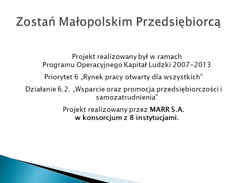 Projekt realizowany był w ramach Programu Operacyjnego Kapitał Ludzki 2007-2013 Priorytet 6 Rynek pracy otwarty dla wszystkich Działanie 6.2.