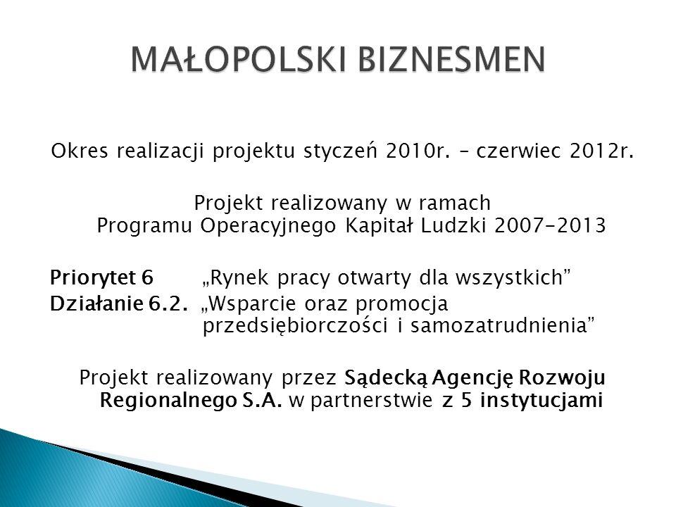 Okres realizacji projektu styczeń 2010r. – czerwiec 2012r.