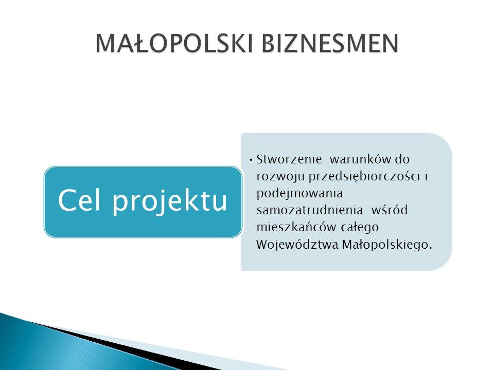 Stworzenie warunków do rozwoju przedsiębiorczości i podejmowania samozatrudnienia wśród mieszkańców całego Województwa Małopolskiego.